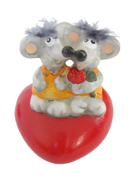 Myš na srdce ornament figúrka darček pre Valentína
