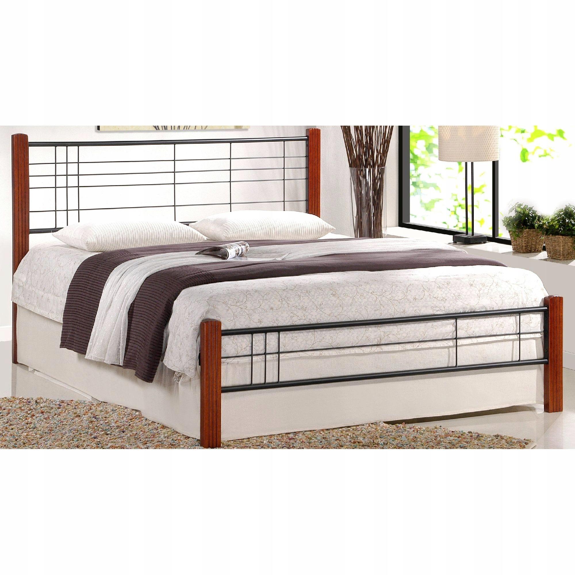 Retro posteľ 160 x 200 VIERA Drevo / Kov