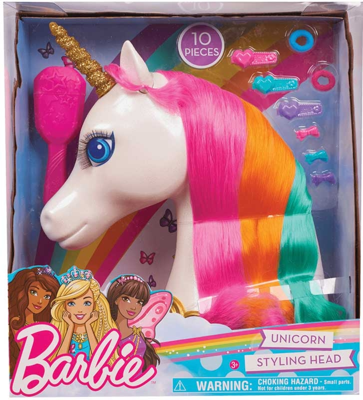 BARBIE Unicorn hlava na kefovanie a styling