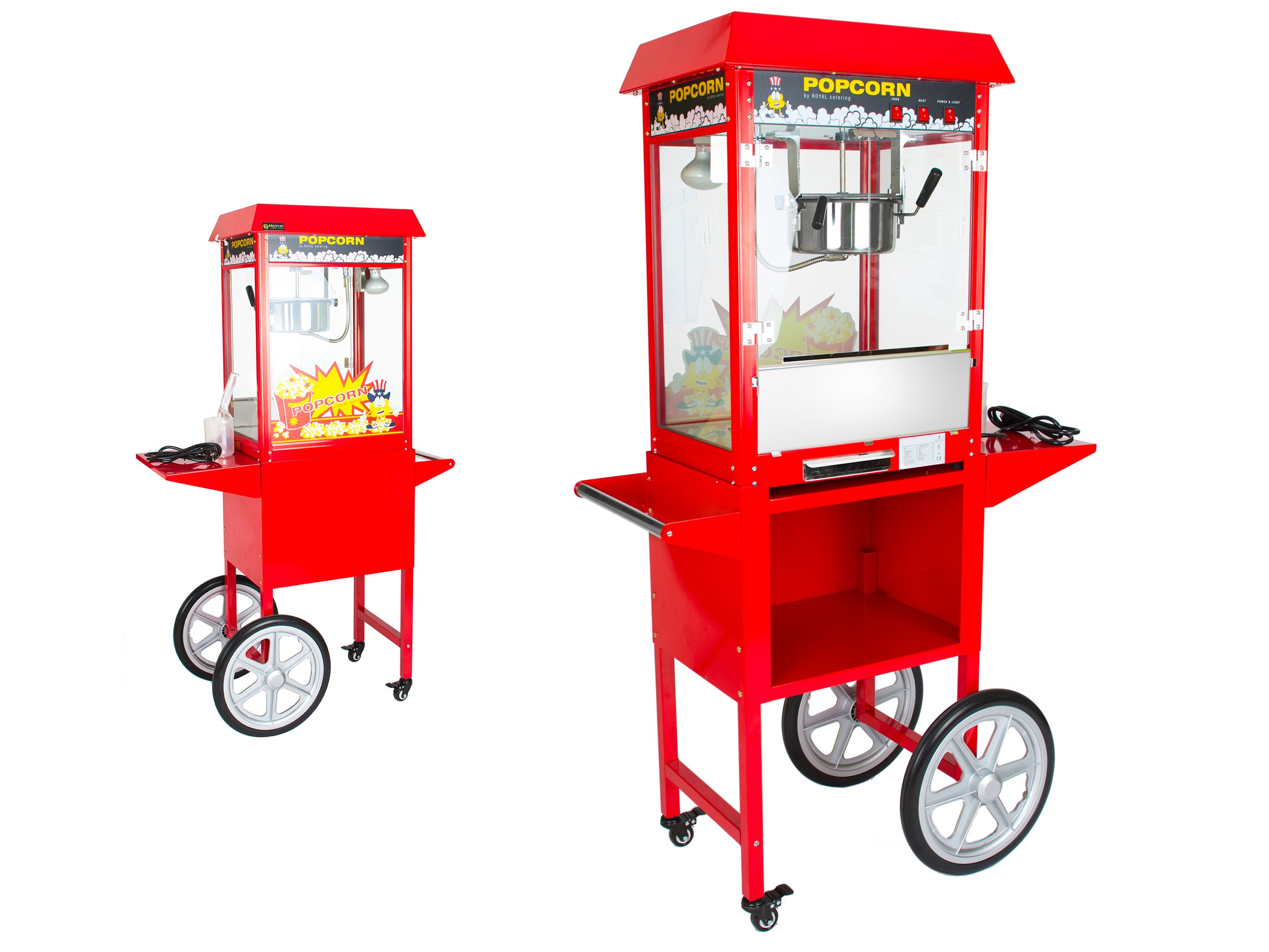 Holiaci strojček na praženú kukuricu popcorn s vozíkom