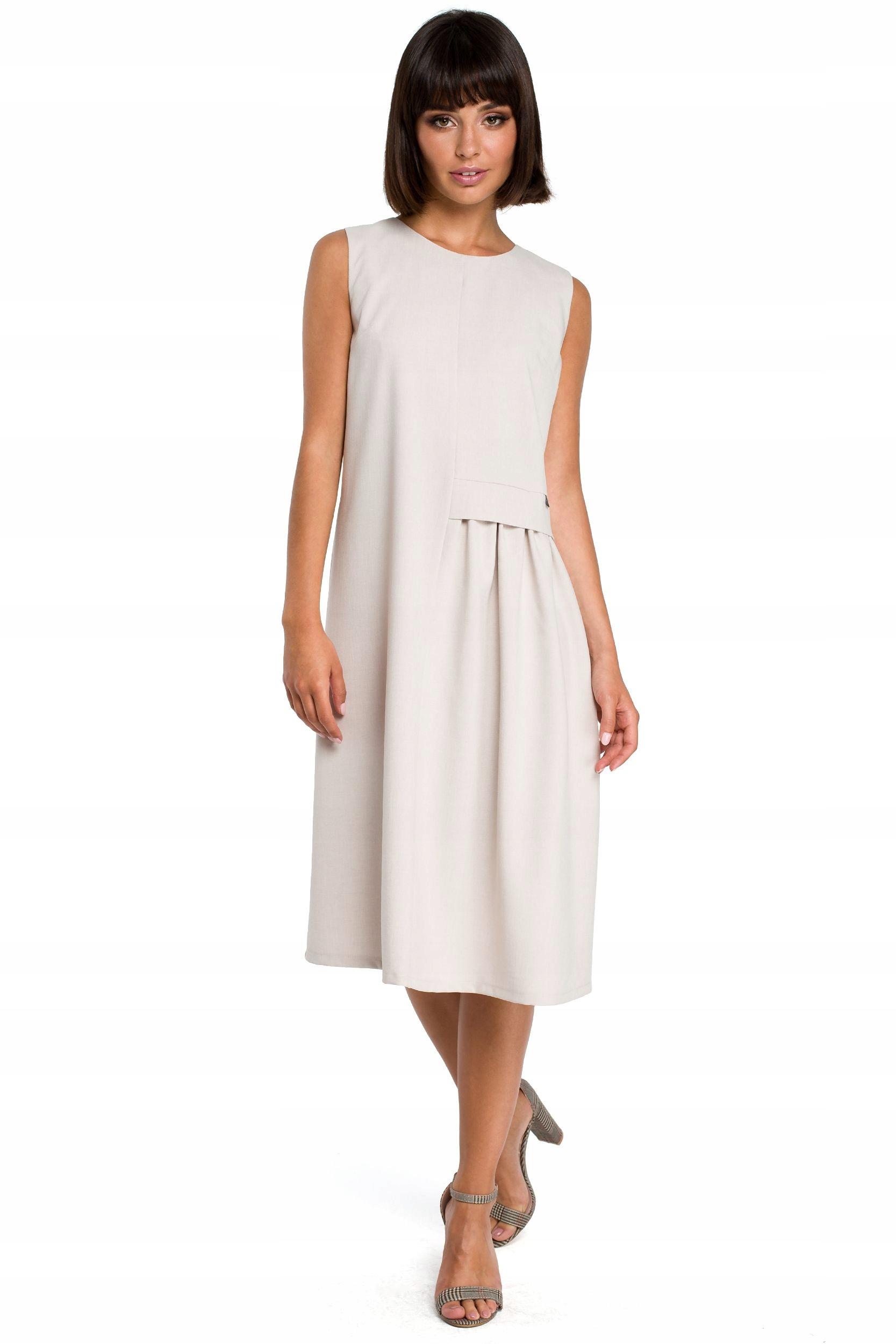 B080 Zwiewna sukienka midi bez rękawów - beżowa 44