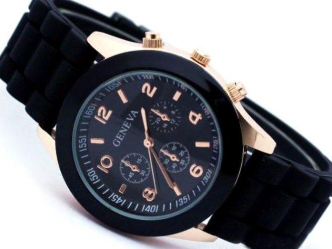 Zegarek damski złoty czarny GENEVA jelly watch
