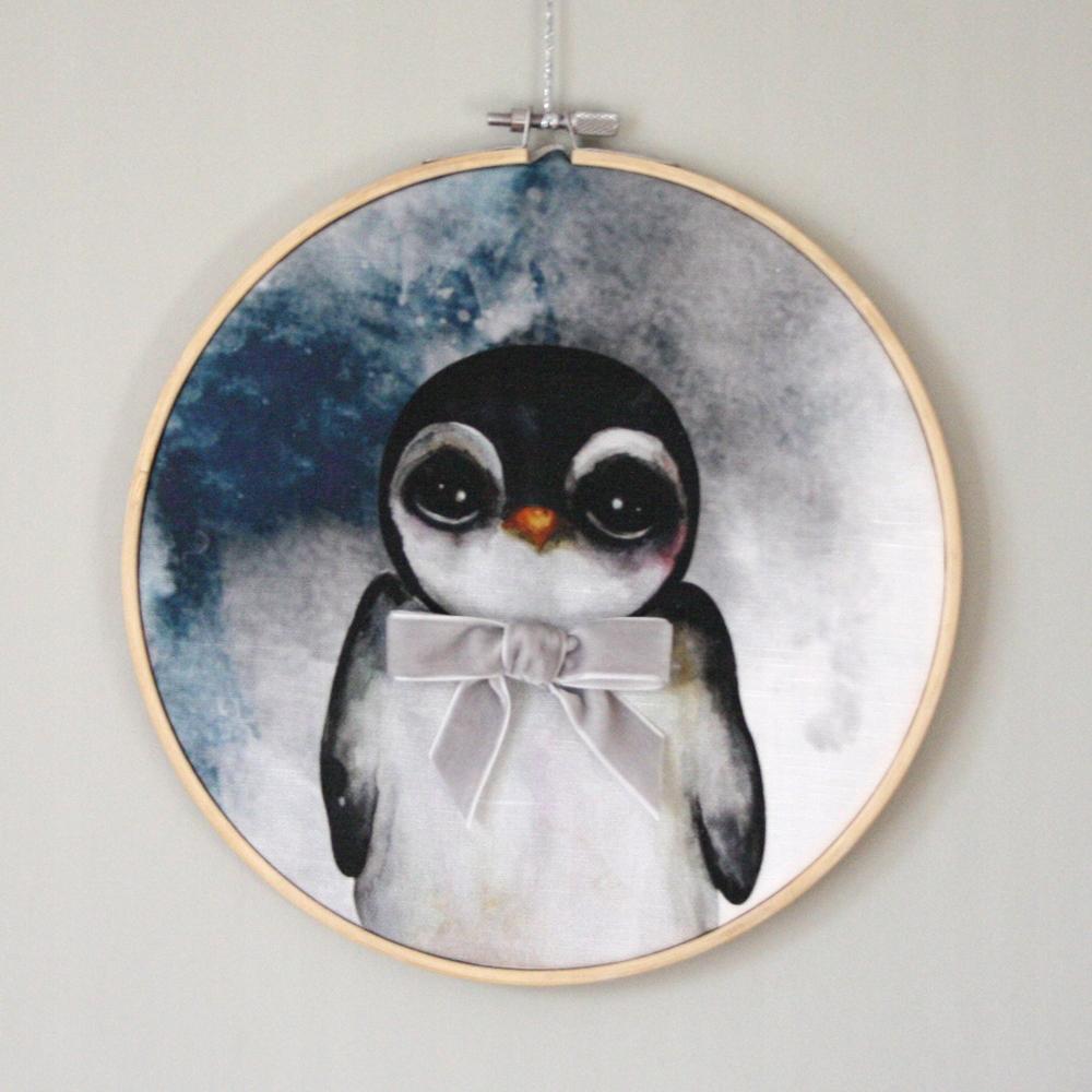Prívesok retro tučniak s sivá stuha Dessin Des