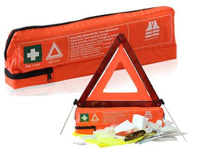Súprava prvej pomoci. Výstražný trojuholník. Sada vesty
