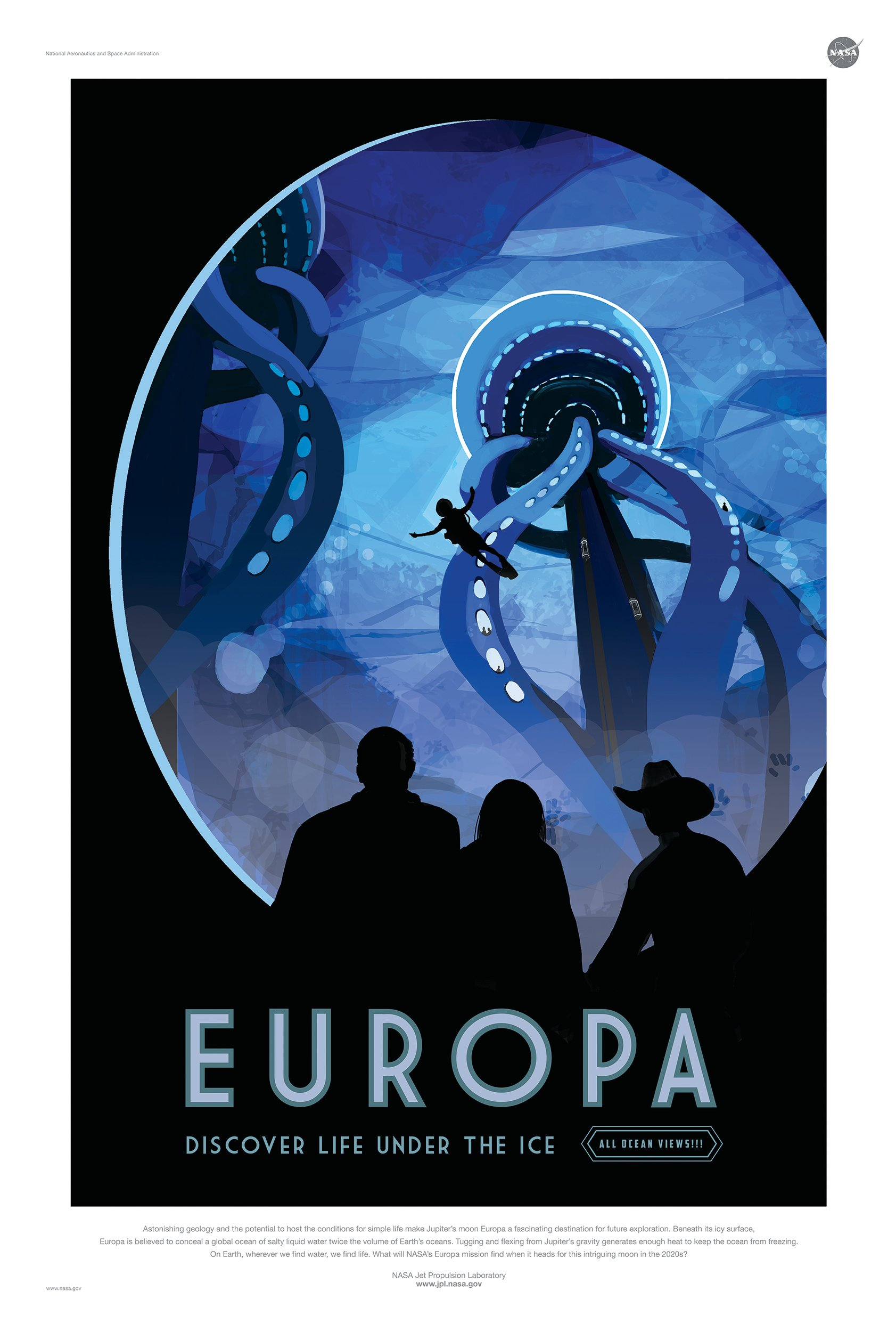 Item poster NASA, EUROPE, moon of JUPITER 91x61 cm