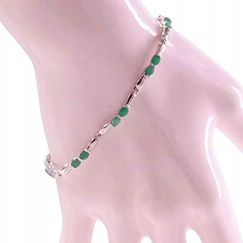 B* LIDA Strieborný náramok 3 ct smaragdy úzke.
