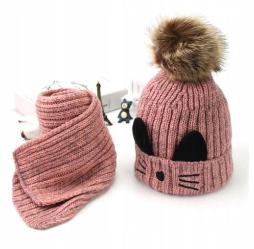 Nastaviť klobúk a šatku na dieťa v teple mačka, 3+