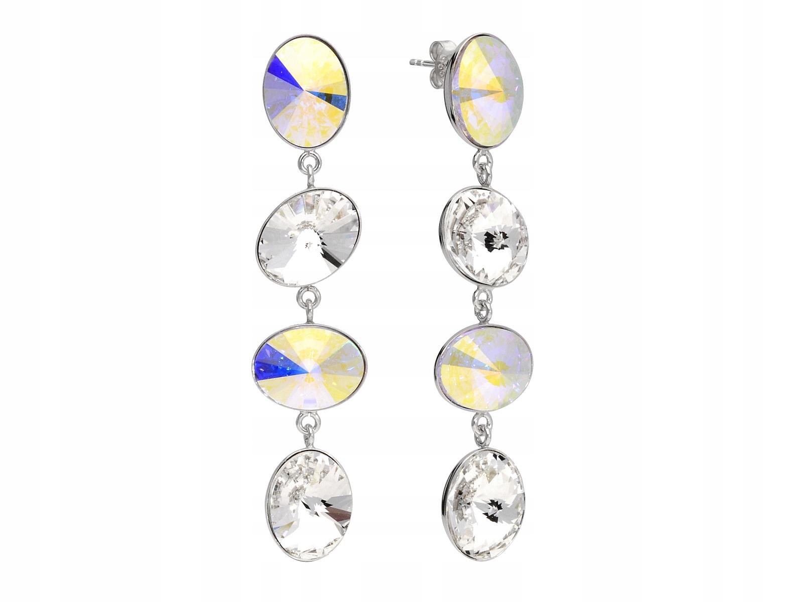 Náušnice 925 silver dlhé oválne, biele opálové