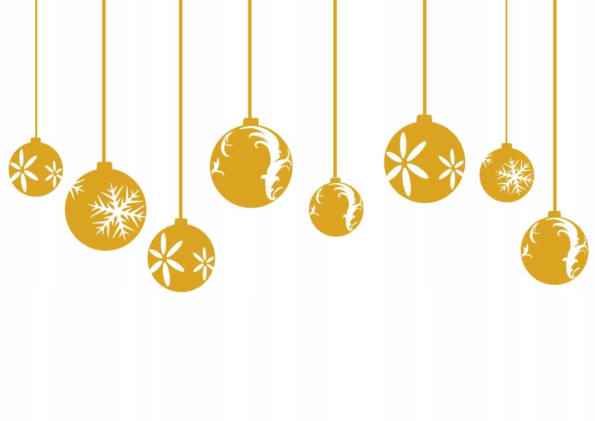 Nálepky Vianočné ozdoby na zlatých oknách vo farbách