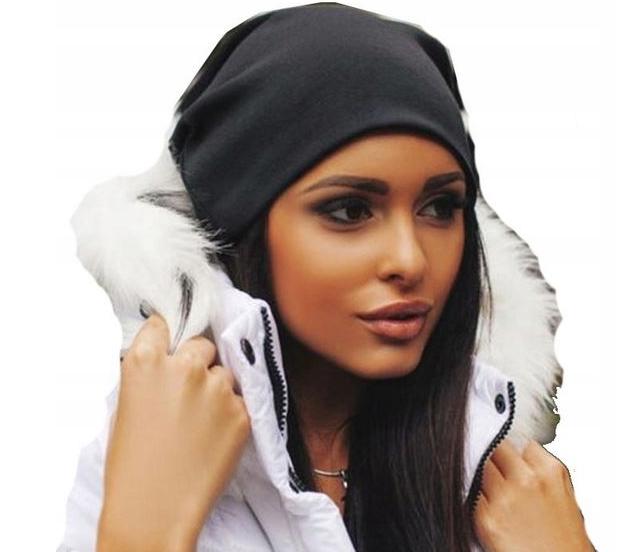 Черная женская шапка OVERSIZE smurfette beanie