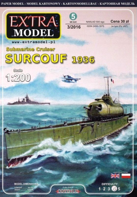 EXTRA MODEL_Krążownik подводная лодка Surcouf 1936_ 1:200 доставка товаров из Польши и Allegro на русском
