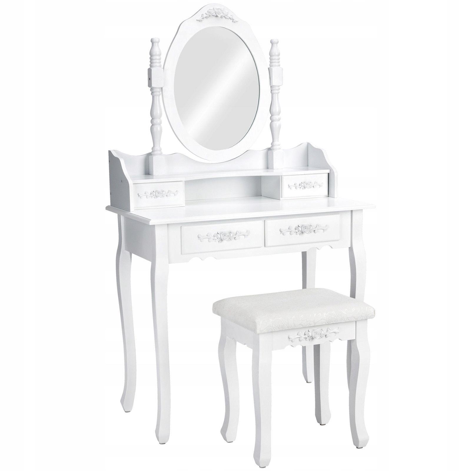 ТУАЛЕТНЫЙ столик и КОСМЕТИЧЕСКОЕ с зеркалом белая + Табурет