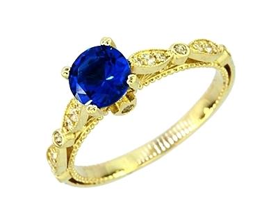 krúžok gold 585 - starožitné sapphire - Rokarte