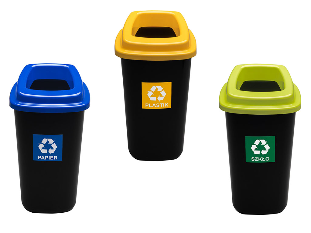 3x корзина SORT-БАСТ для мусора и для сортировки 3x28L