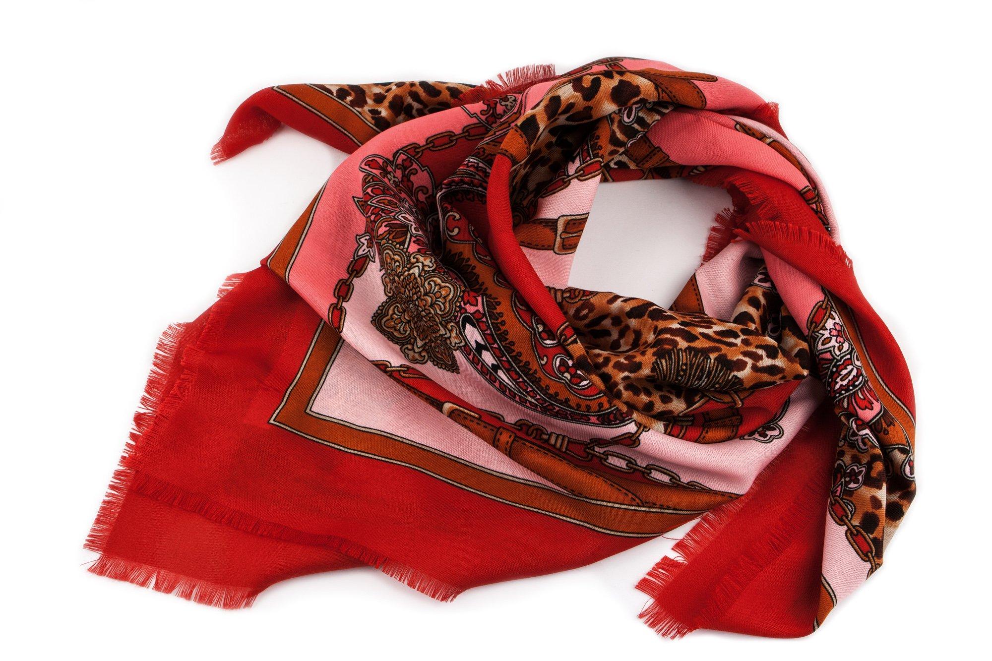 022d8bfefbbe04 Czerwona chusta w cętki i łańcuchy. PROMOCJA! 7276864131 - Allegro.pl