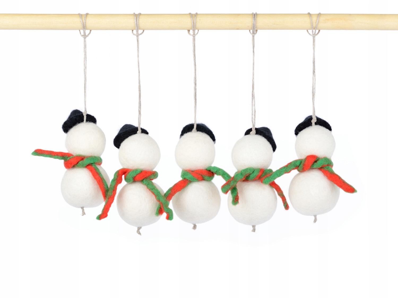 Plstení snehuliaci na vianočný stromček BOMBY sada 5 kusov