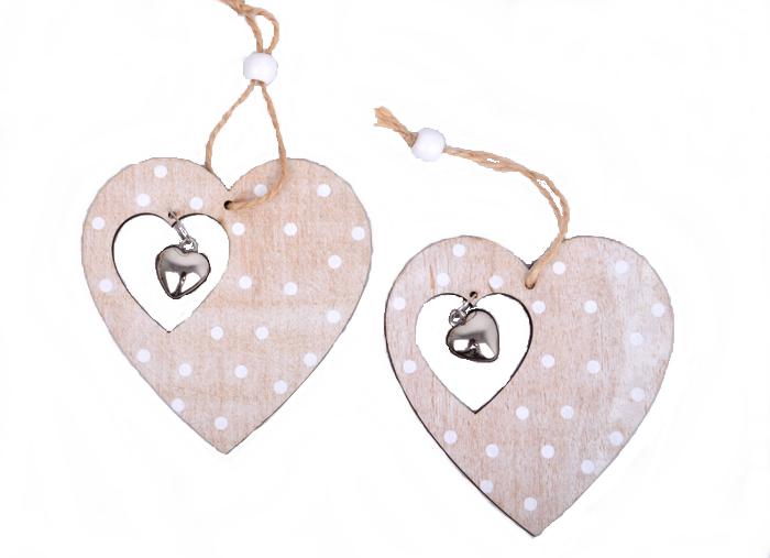 Drevené prívesné srdce srdcové dekorácie 2ks