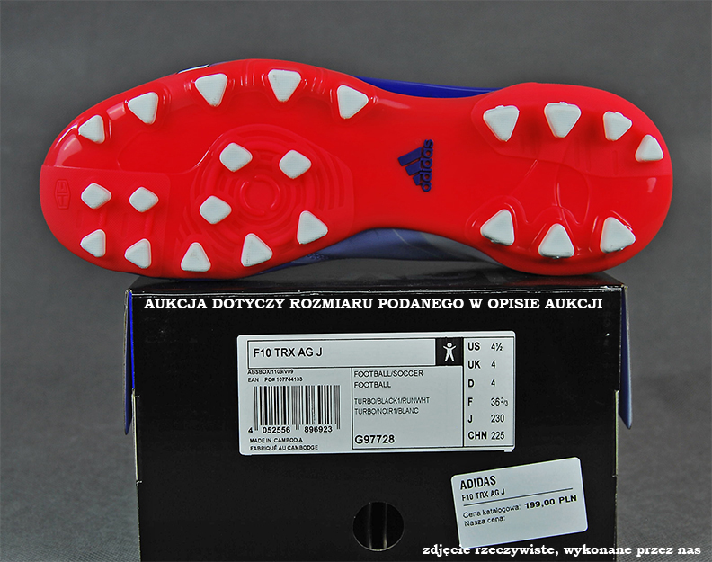 Turfy ADIDAS F10 TRX MESSI r.38 czerwono białe