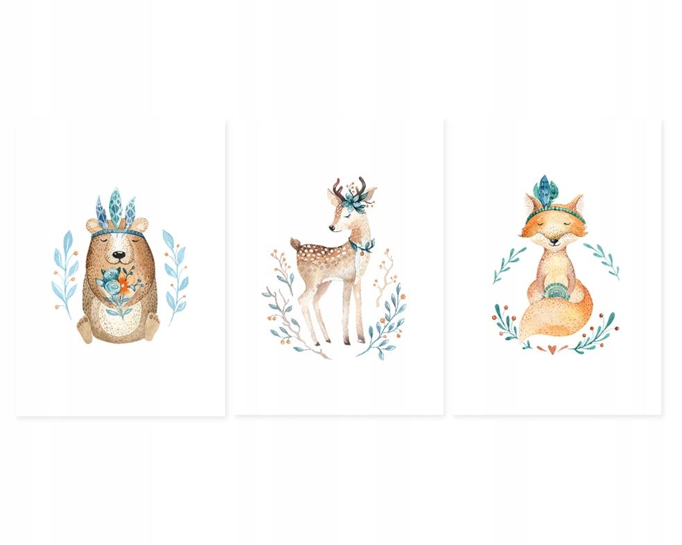 Plakaty Obrazki Dla Dzieci Leśne Zwierzęta 3xa3