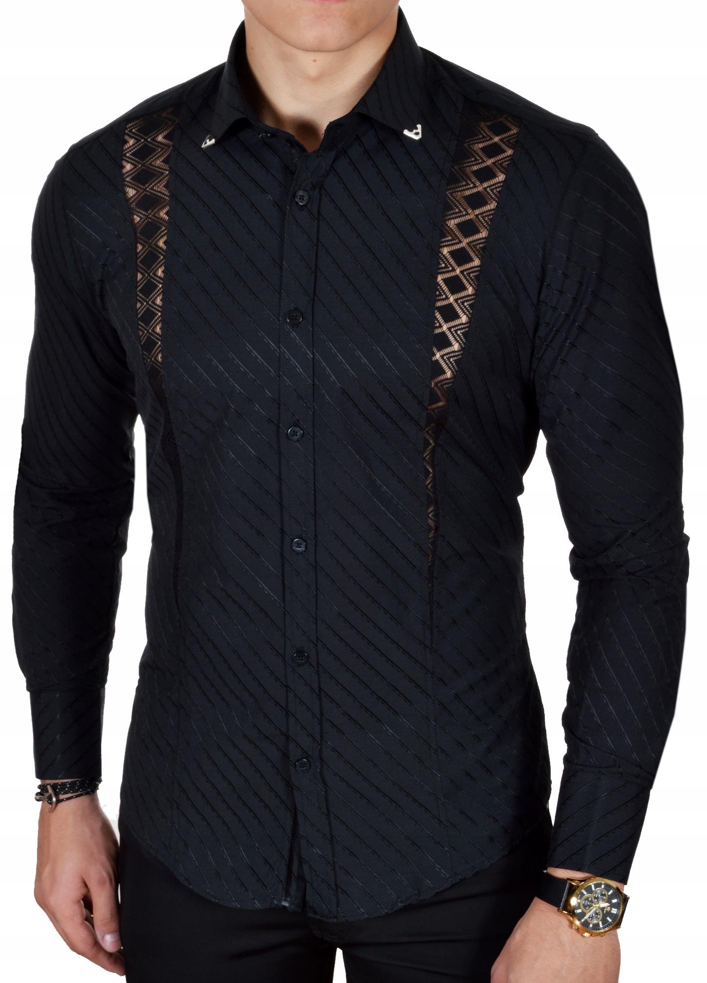 Koszula Męska Mondo Elegancka Wieczorowa Ażurowa 7623053766  Zj4i3