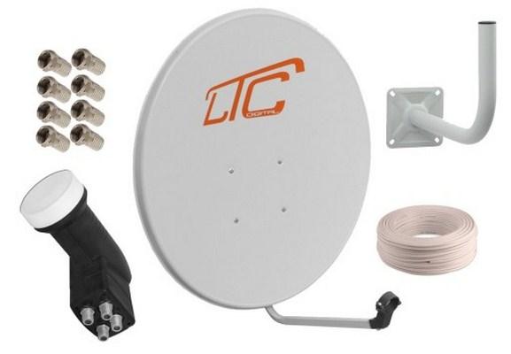 антенна 90 см quad 50m кабель 8xf держатель комплект 4xtv
