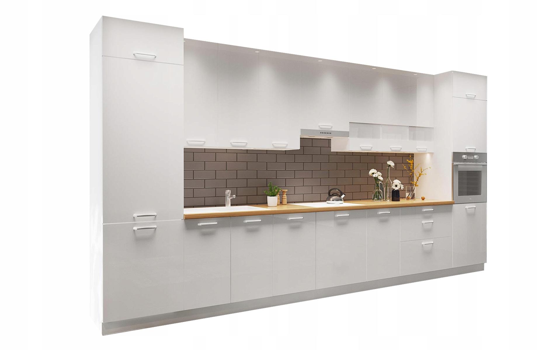 Biely nábytok pre kuchyne Kammono kit B, lesklý