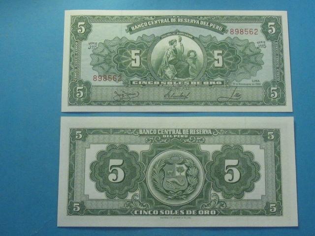 Peru Banknot 5 Soles P-83a stan UNC 1968 !