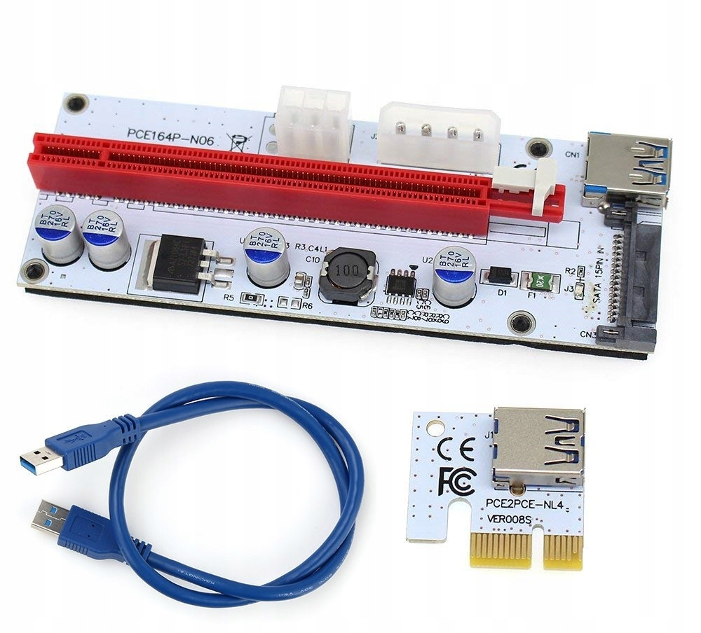 Item Riser USB 3.0 PCI-E 1x-16x SATA 6PIN Molex 008S