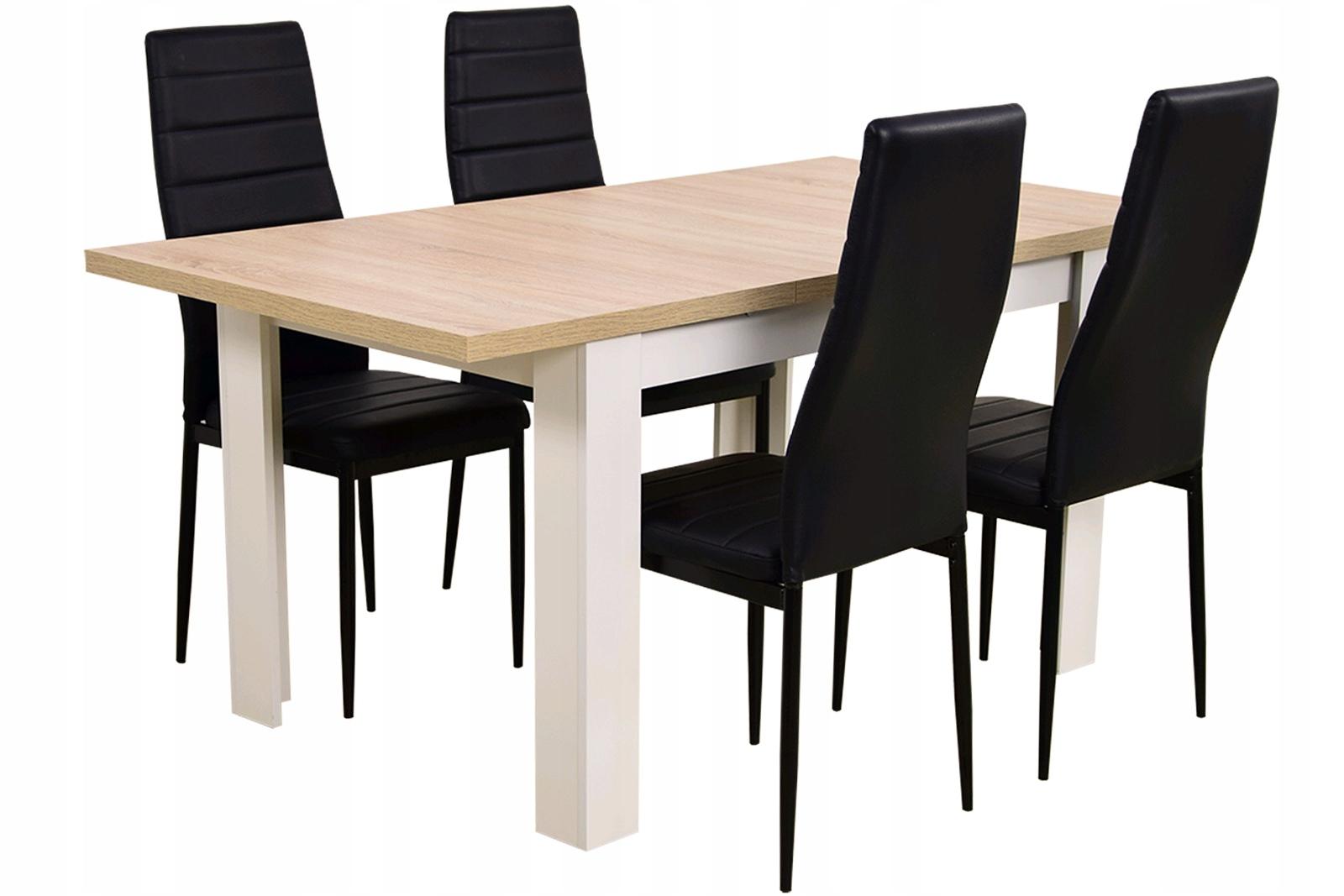 Купить НАБОР комнат стол для 160 и 4 ЧЕРНЫЕ СТУЛЬЯ на Otpravka - цены и фото - доставка из Польши и стран Европы в Украину.