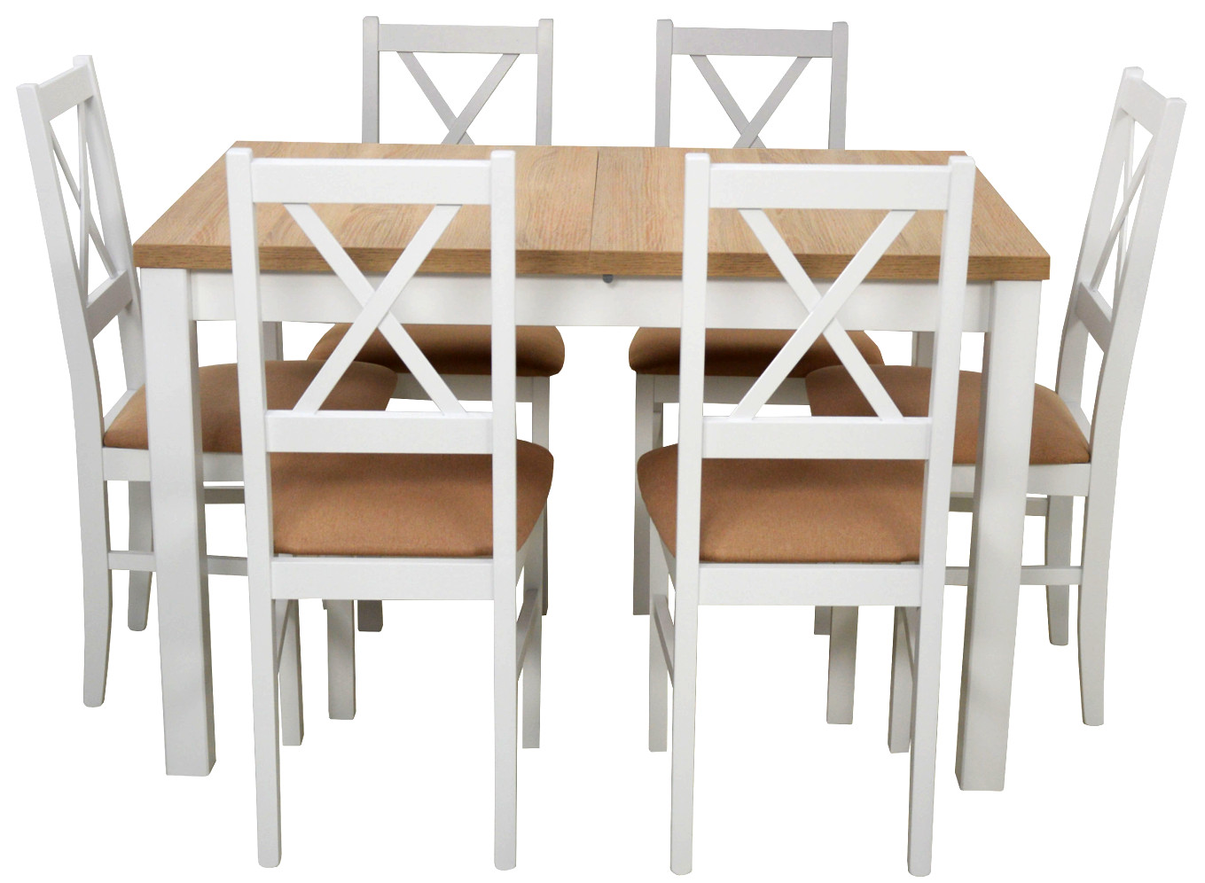 6 Stoličiek + Stôl Laminát Biele SONOMA / Ada-Nábytok