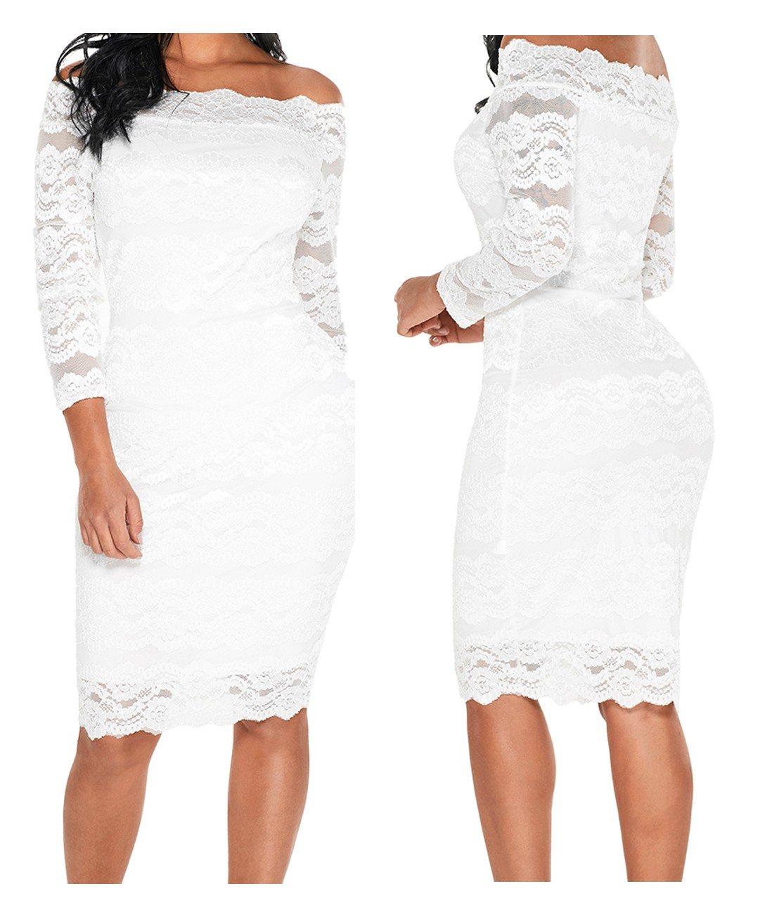 42a36e431c Koronkowa sukienka koktajlowa 61291 biała tu S - 7171721345 ...