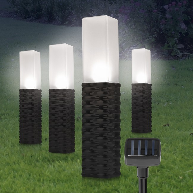 Globrite Lampki Ogrodowe Solarne Rattanowe 4szt