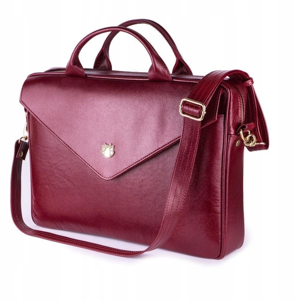 9f754972c6b92 Skórzana torba na laptopa FL15 Positano burgundowa - 7674129307 ...