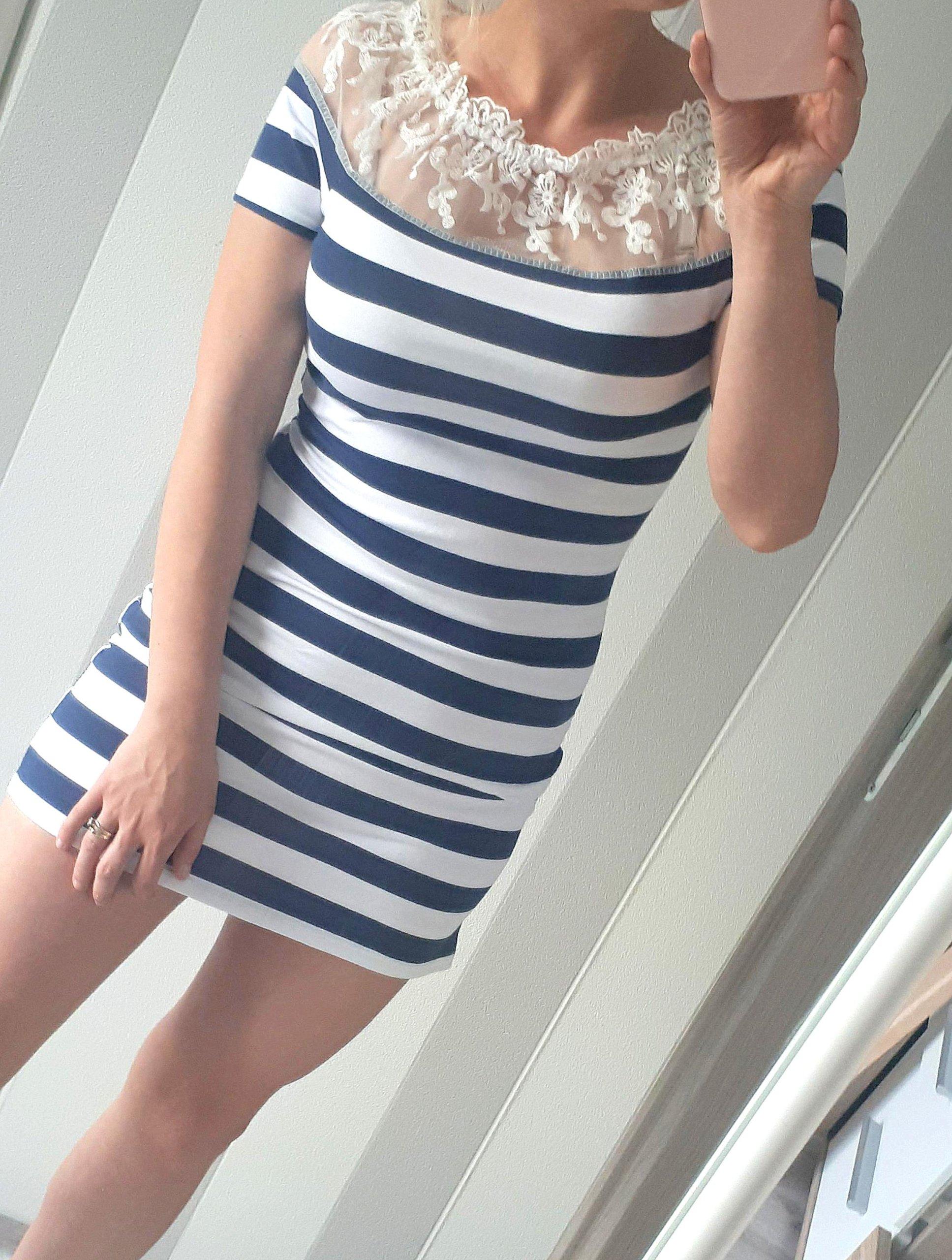 6a3e7ef85d Śliczna sukienka paski marina koronka uniwersalna - 7390278084 - oficjalne  archiwum allegro