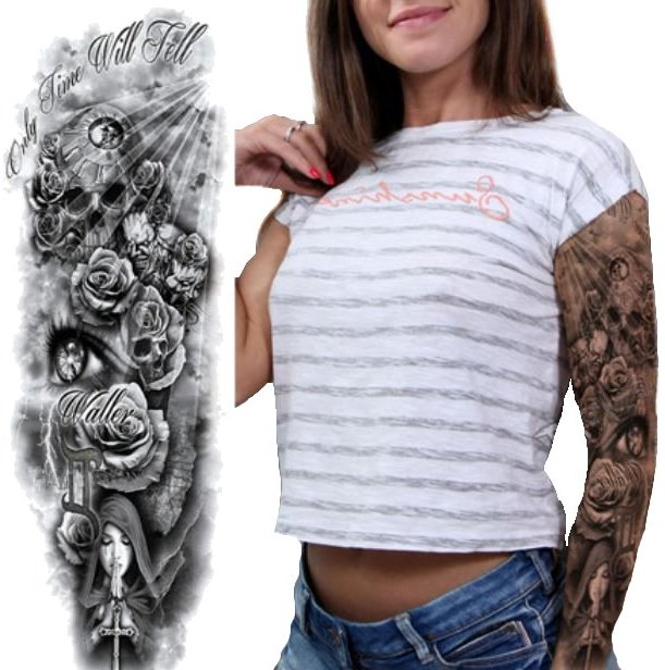 Czaszka Róże Tatuaż Wodoodporny Z Napisem Czas B2