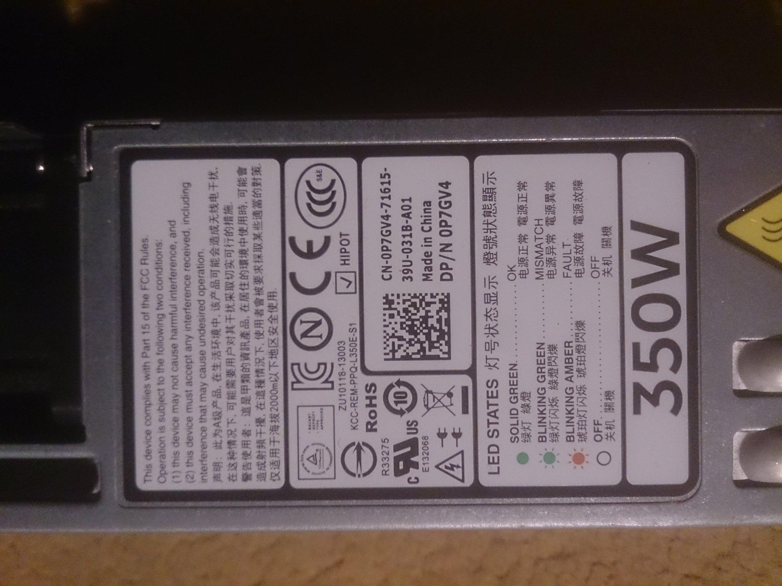 zasilacz Dell PowerEdge R320 R420 350W 0P7GV4 - 7110509323