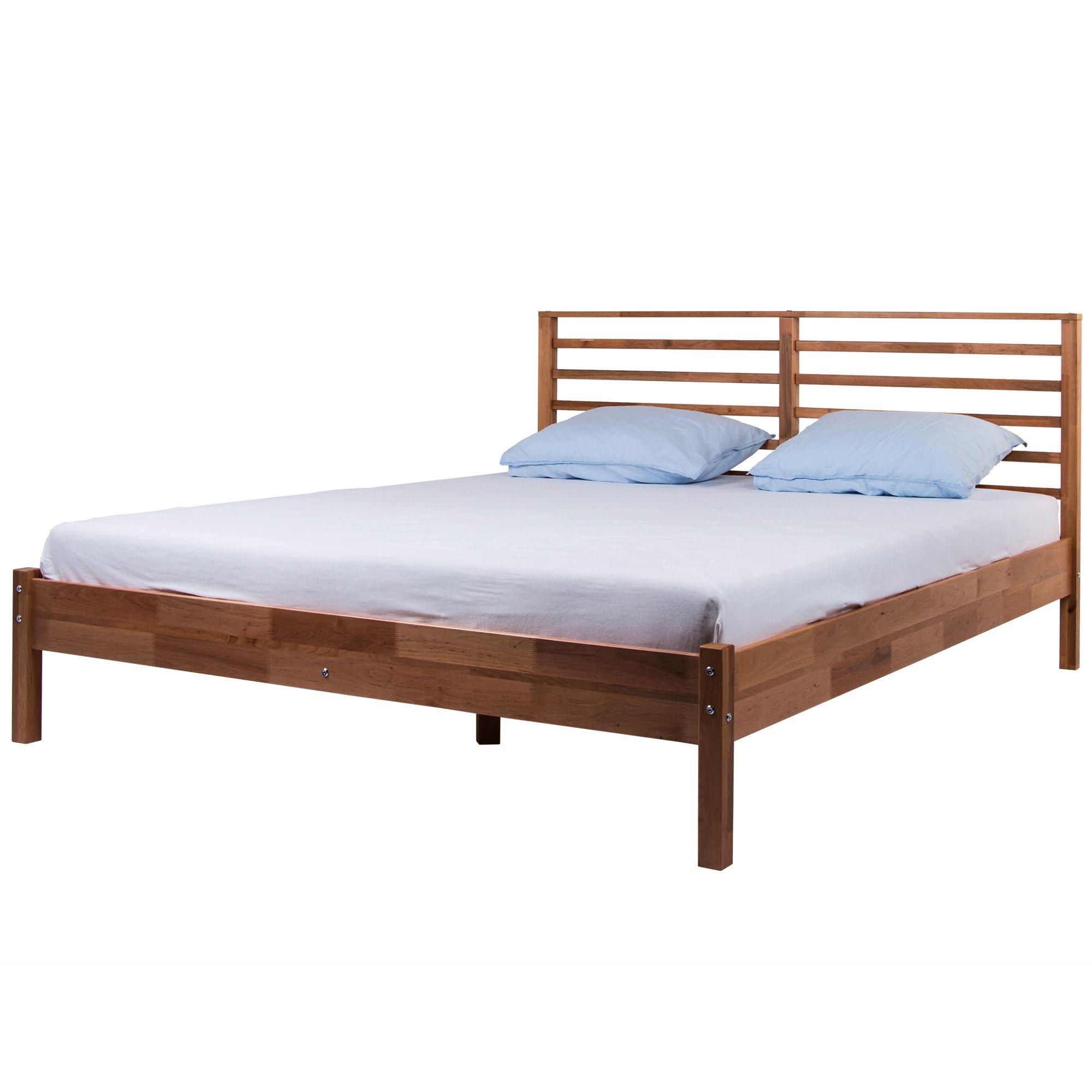 Łóżko podwójne drewniane 160x200 proste olcha