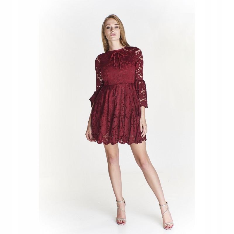 279f6f5eee Koronkowa sukienka z rozkloszowanymi rękawami Gran - 7540252860 ...