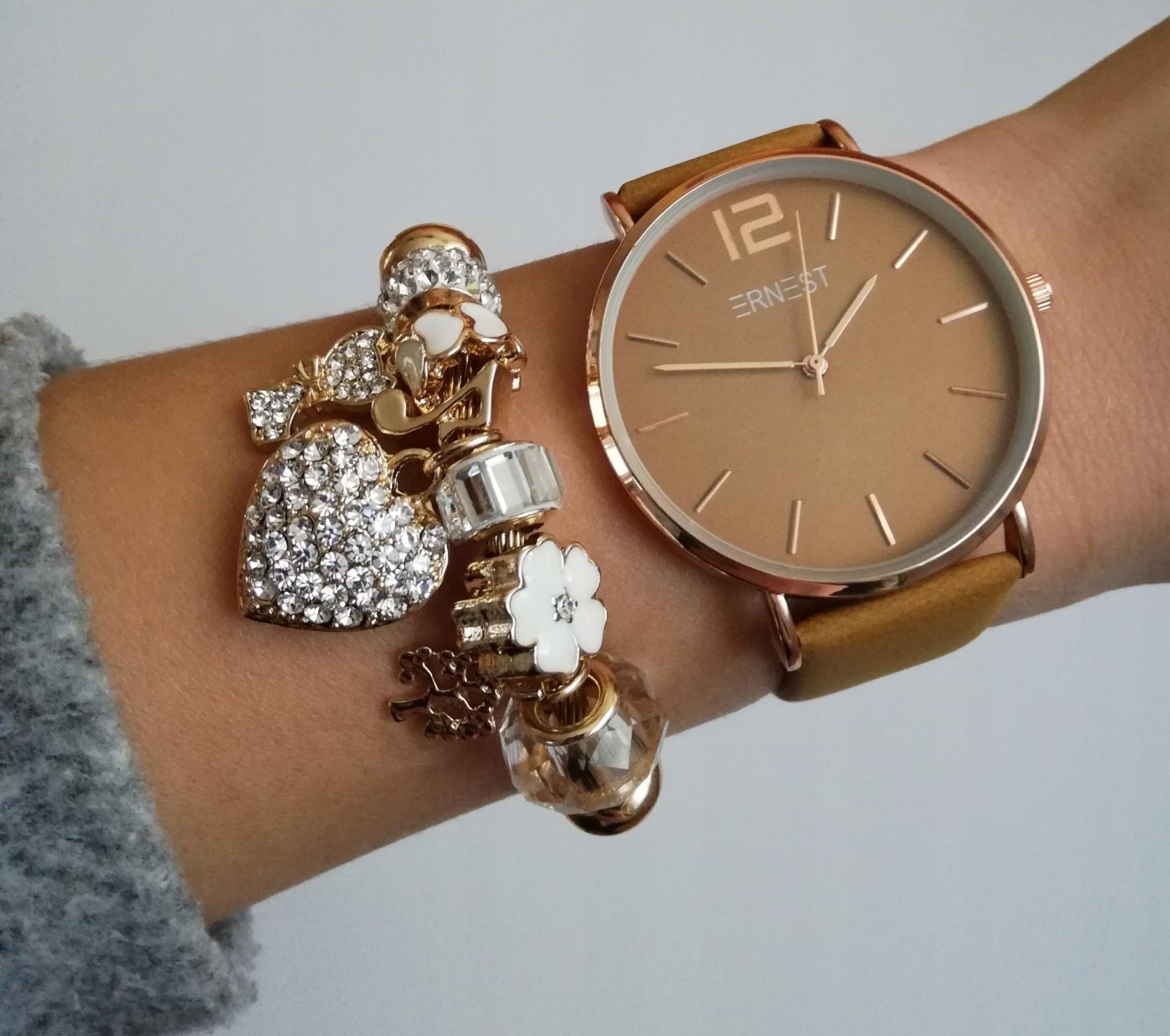 29b0920640551f Klasyczny zegarek damski Ernest musztardowy ciemny - 7679376757 ...