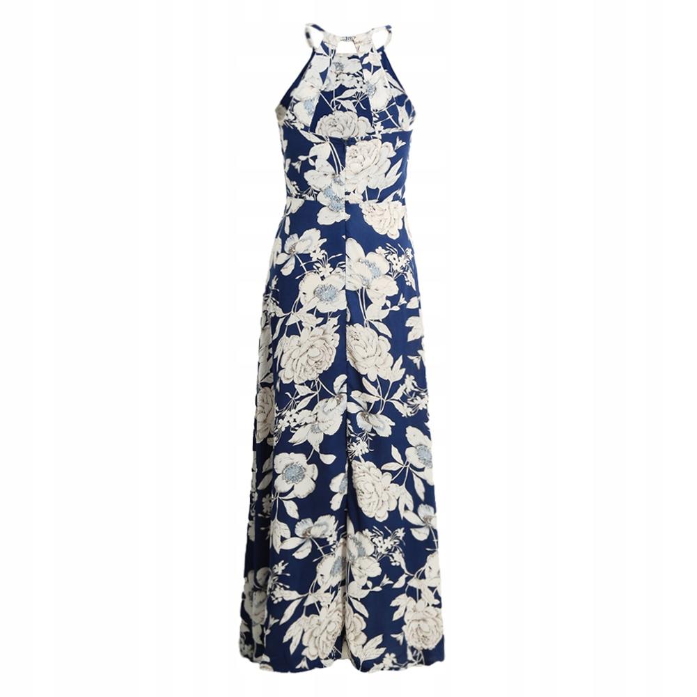 4e15c02123 Sukienka długa maxi wesele kwiaty granatowa S 36 - 6743682993 ...