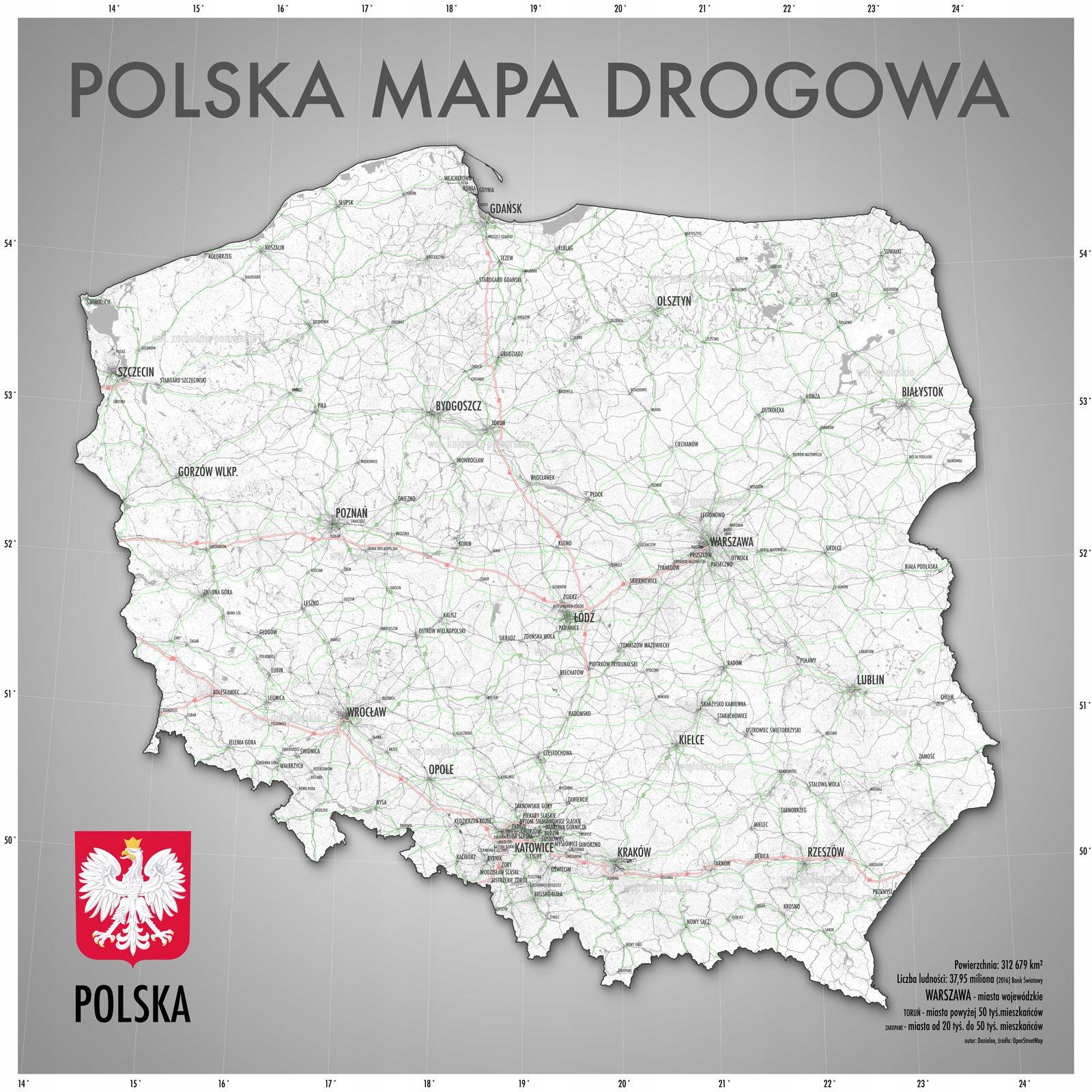 Mapa Polski Drogowa Plakat Na ścianę 120x120 Cm