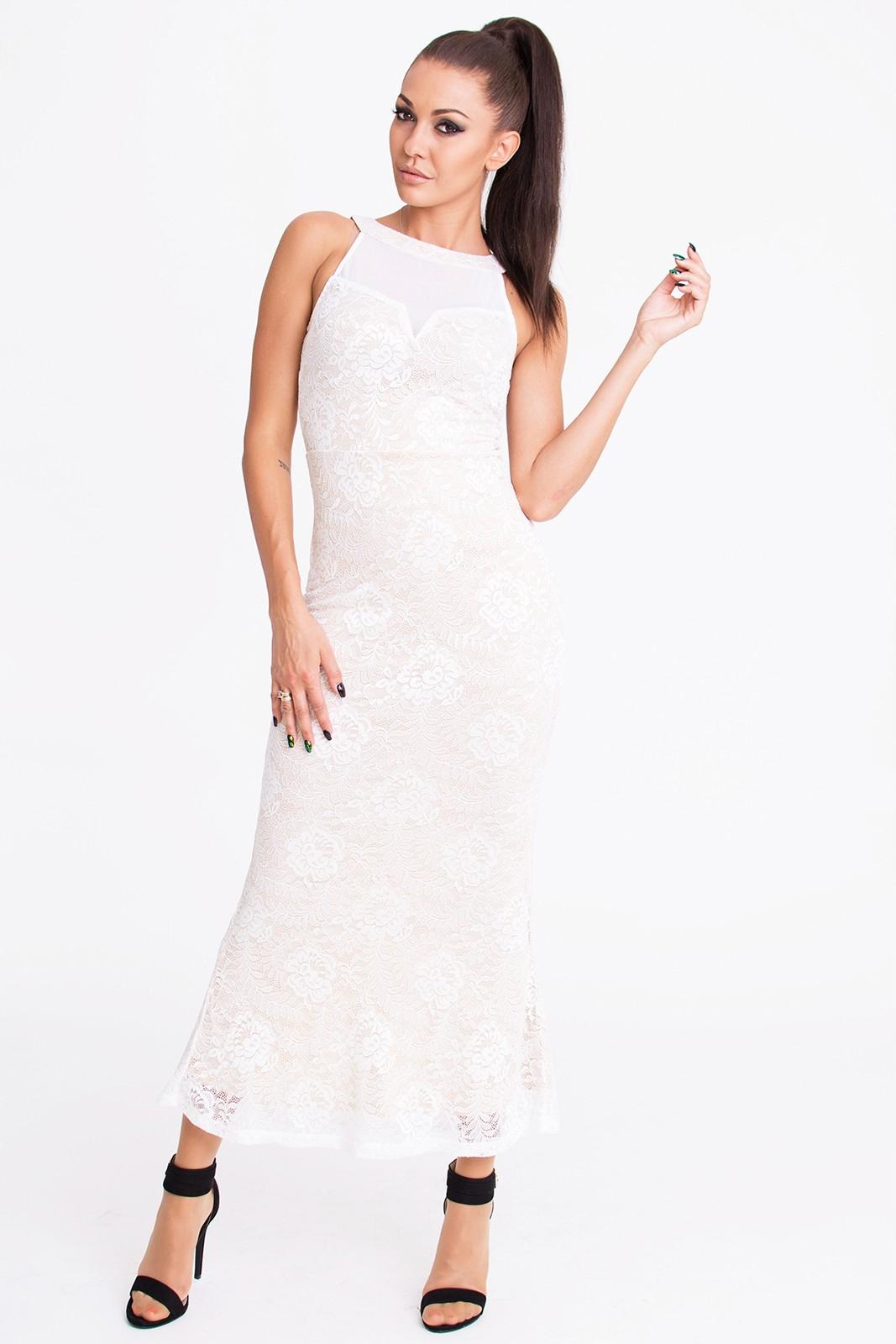 72a40197ef Sukienka MIDI z koronką - biała EMAMODA M - 7057366197 - oficjalne ...