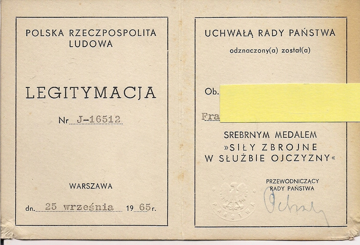 Legit. sr. med. /XV/ siły zbr. w sł. ojczyzny 1965