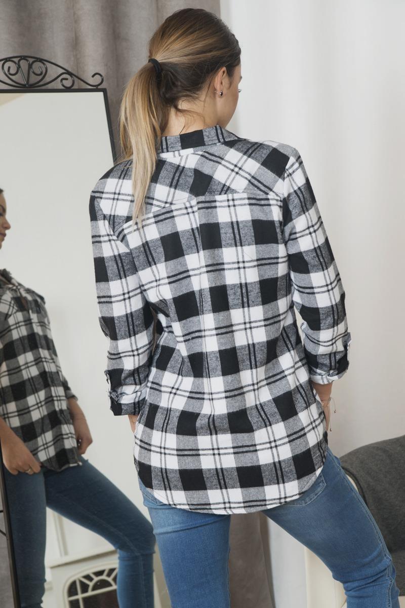 f43d6579fad395 Koszula w kratkę ocieplana czarna un. piękne - 7230315111 ...