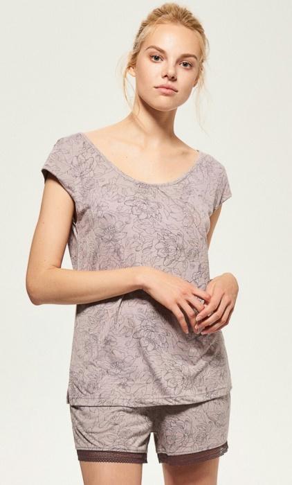 Dwuczęściowa piżama Reserved roz S koronka szary