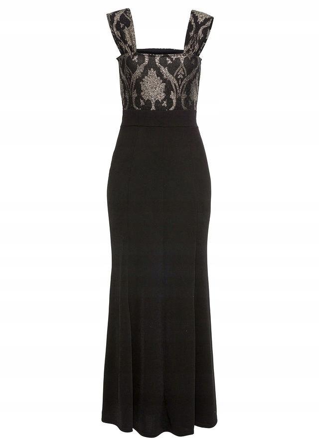 7b1096bce84f09 Sukienka z brokatowym czarny 44/46 XXL/3XL 912893 - 7438928542 ...
