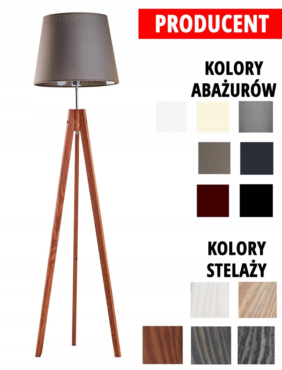 Lampa Drewna Stojąca Trójnóg Podłogowa Tripod Beż 7147717602