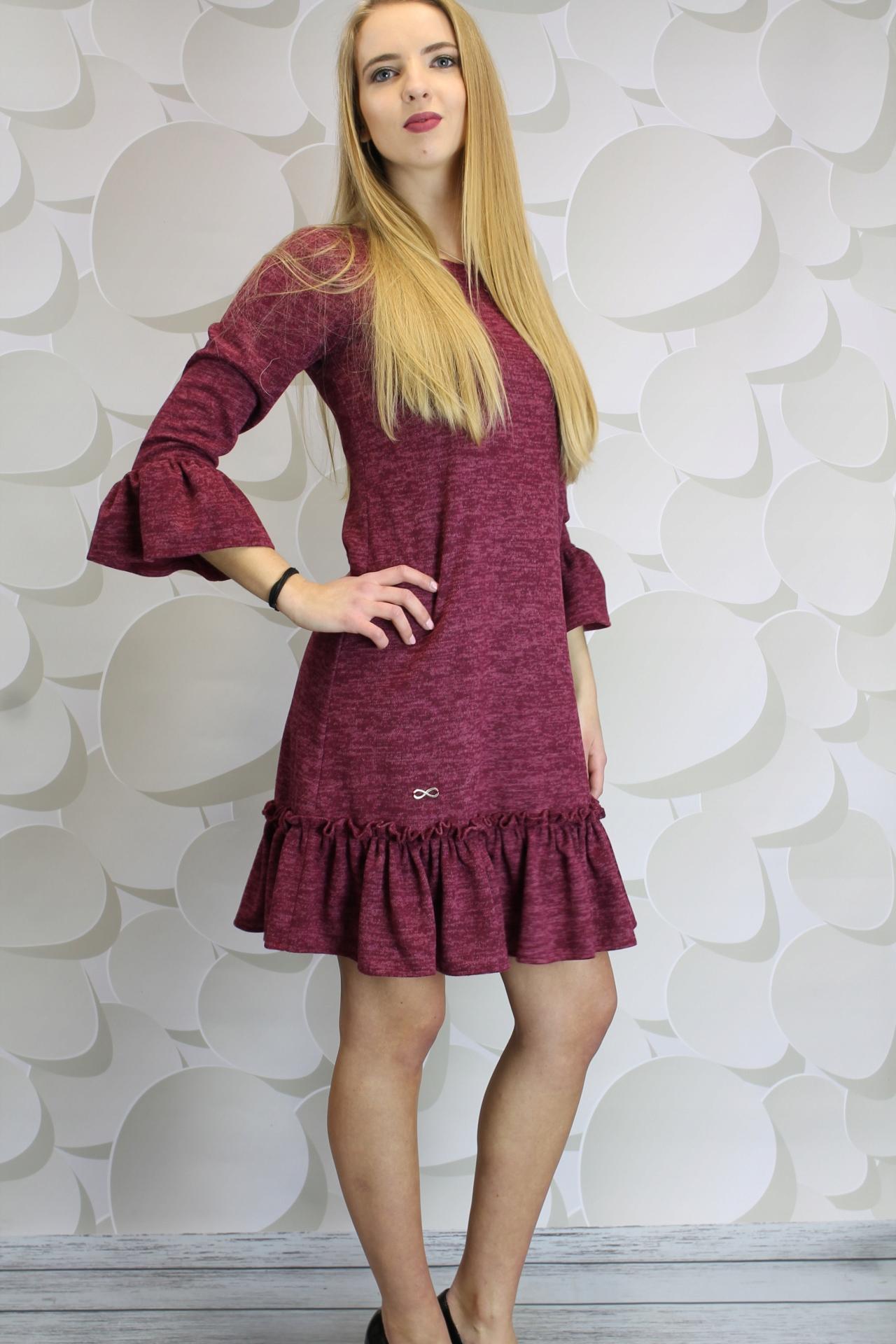 4b694fb027 CATALINA Trapezowa sukienka z falbaną zakładki 38 - 7231724470 ...