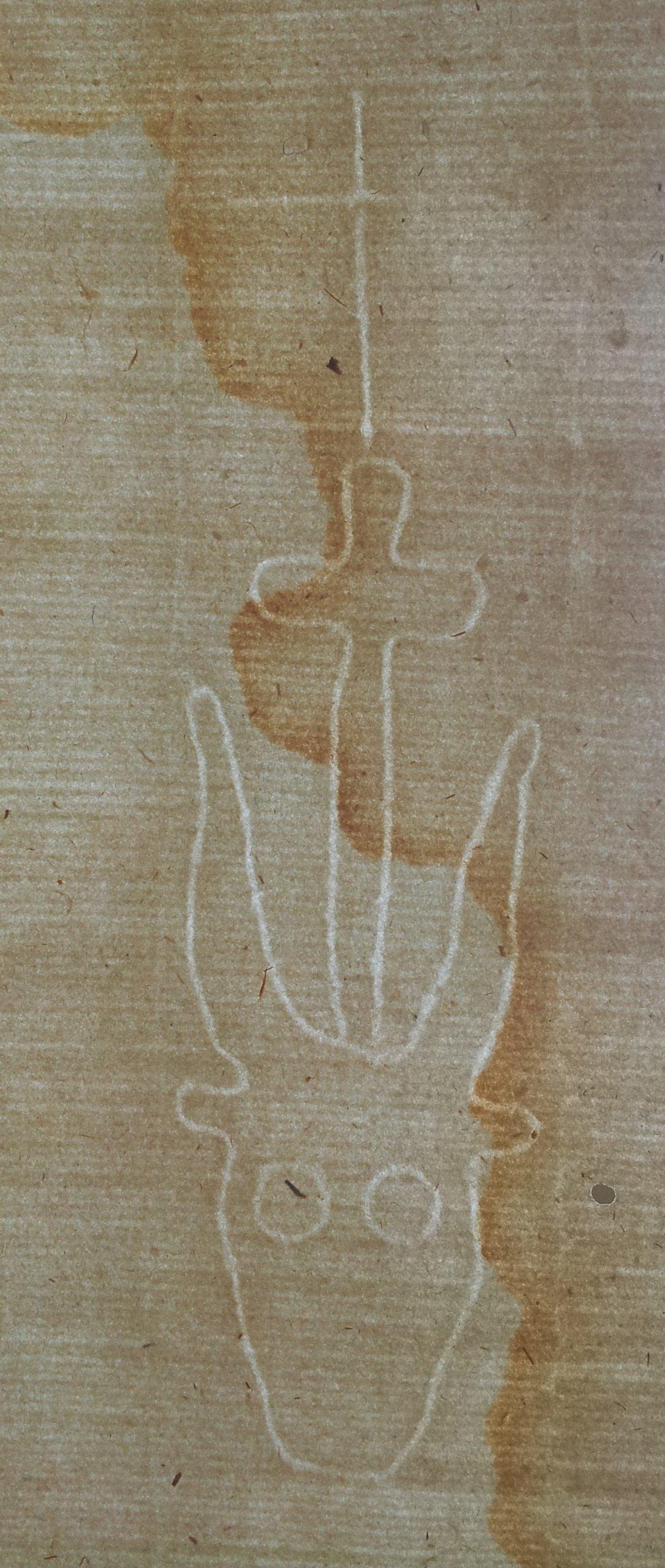 1450 Papier czerpany Wół z krzyżem Pomorze Śląsk