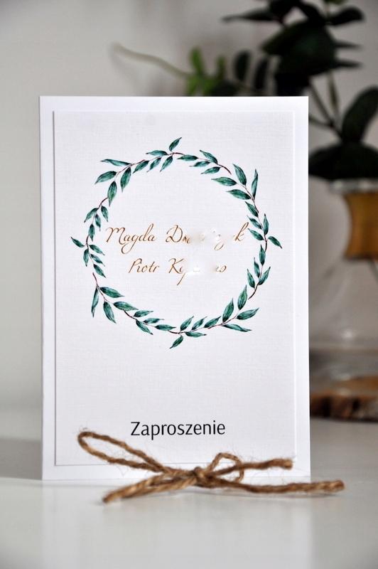 Zaproszenia ślub Greenery Wianek Eukaliptus Ruskus 7628092838